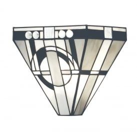 Metropolitan Tiffany Single Wall Light In Black, White And Grey 64267