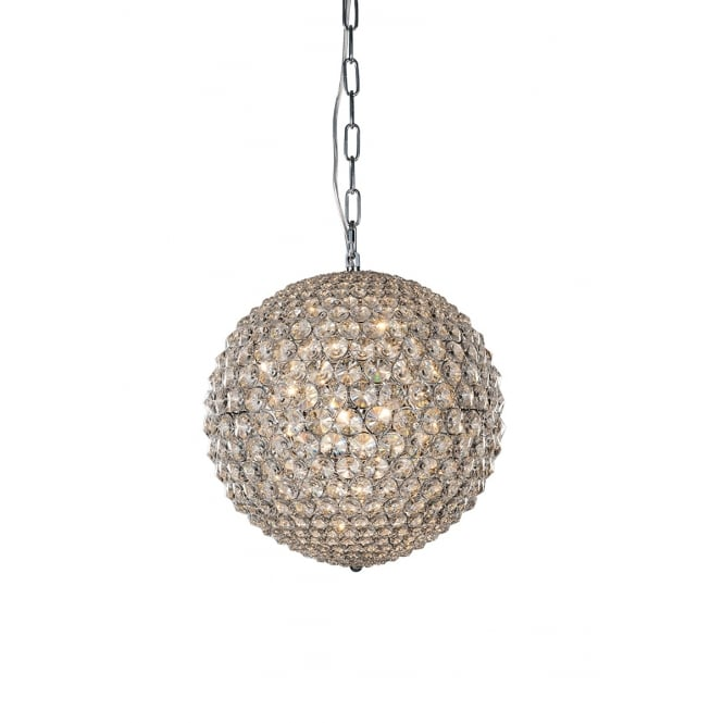 Illuminati Lighting Milano Medium Crystal Globe Pendant Light