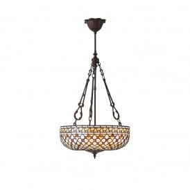 Mille Feux Tiffany Large Inverted Ceiling Pendant Light With Cream Glass 64277