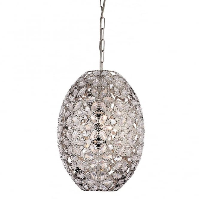 Firstlight Mirage Ceiling Pendant Light In Chrome Finish With Acrylic Detail 8646