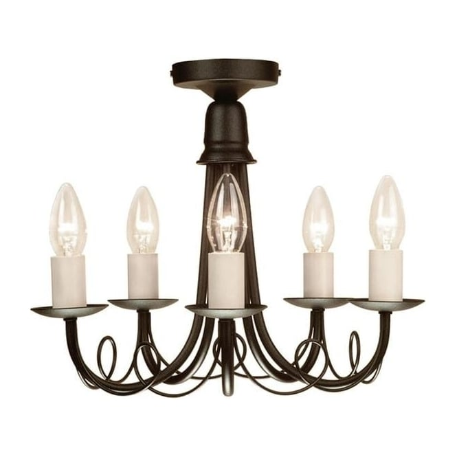 Elstead MN5 Black, GS54 Minster black chandelier five light