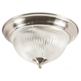Modern 2 Light Satin Silver IP44 Bathroom Flush Ceiling Light, Clear Glass
