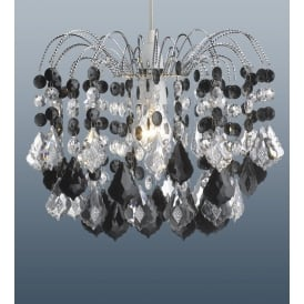 Modern 2 Tier Black Acrylic Crystal Ceiling Pendant Light Lamp Chandelier Shade