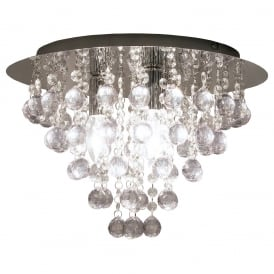 Modern 3 Light Acrylic Crystal Flush Ceiling Fitting In Chrome Finish