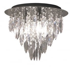 Modern 3 Light Round Flush Ceiling Chandelier with Decorative Rainbow Droplets