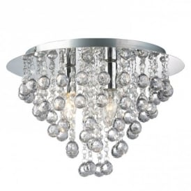 Modern 3 Light Round Flush Ceiling Chandelier with Round Droplets