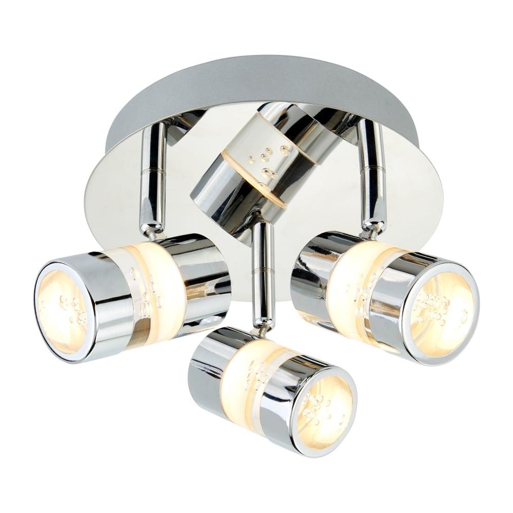 Led Spotlights Ceiling: Searchlight Modern 3 Way LED IP44 Chrome Bathroom Ceiling