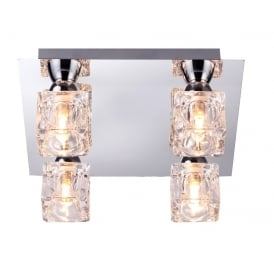 Modern 4 Light Square Ice Cube Flush Ceiling Light In Chrome