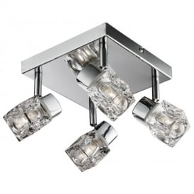 Modern 4 Way Chrome IP44 Blocs Adjustable Bathroom Ceiling Spotlight
