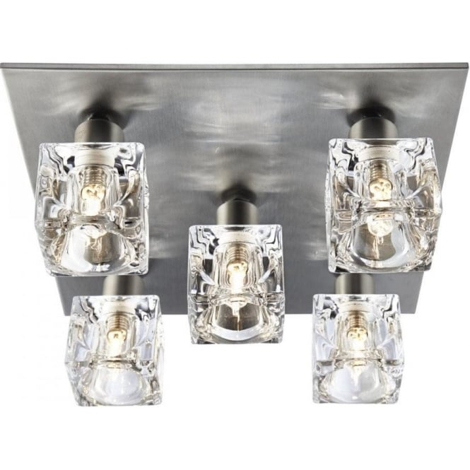 Searchlight Modern 5 Light Ice Cube Ceiling Light With Satin Silver Backplate Lighting From
