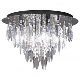 Modern 5 Light Round Flush Ceiling Chandelier with Decorative Trimmings