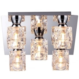 Modern 5 Light Square Ice Cube Flush Ceiling Light In Chrome Finish