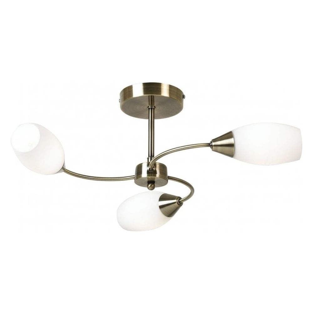 Thlc modern antique brass 3 way semi flush ceiling light for Old fashioned lighting fixtures