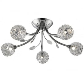 Modern Chrome 5 Light Ceiling Light with Grape Glass - Berris-5CH