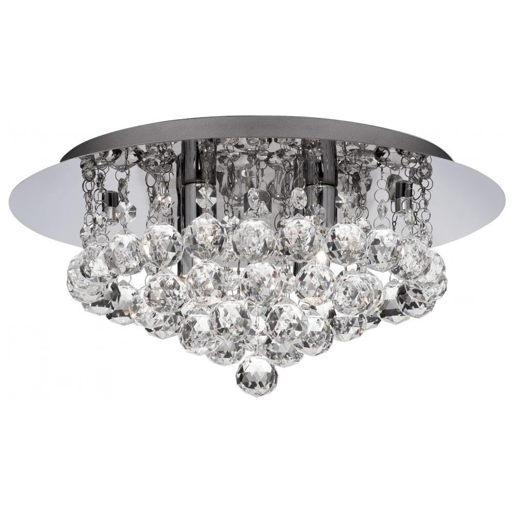 Modern Crystal Flush Ceiling Light With Round Crystal Droppers