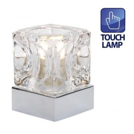 Modern Ice Cube Touch Table Lamp Polished Chrome Finish