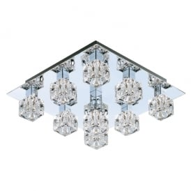 Modern Large Ice Cube Flush Ceiling Light with Chrome Backplate and Halogen Lamps