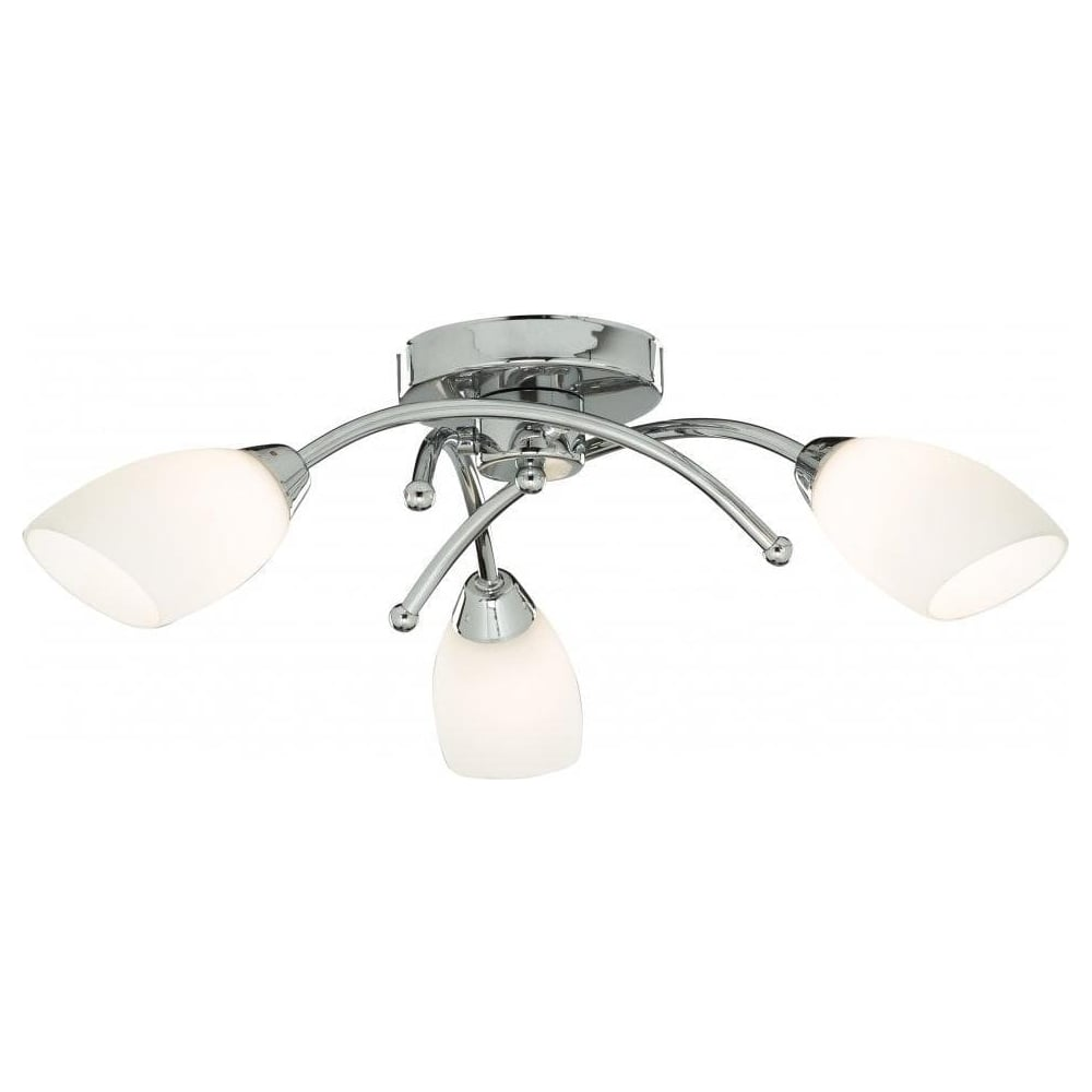Modern led 3 light decorative ceiling light fitting in polished chrome with opal glass