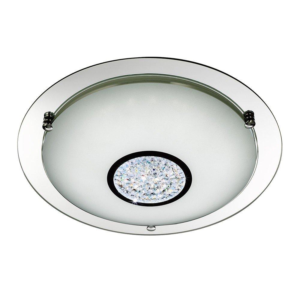 Searchlight Modern Led Chrome Crystal Glass Semi Flush