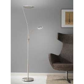 Modern LED Mother And Child Floor Lamp In Satin Nickel Finish SL215