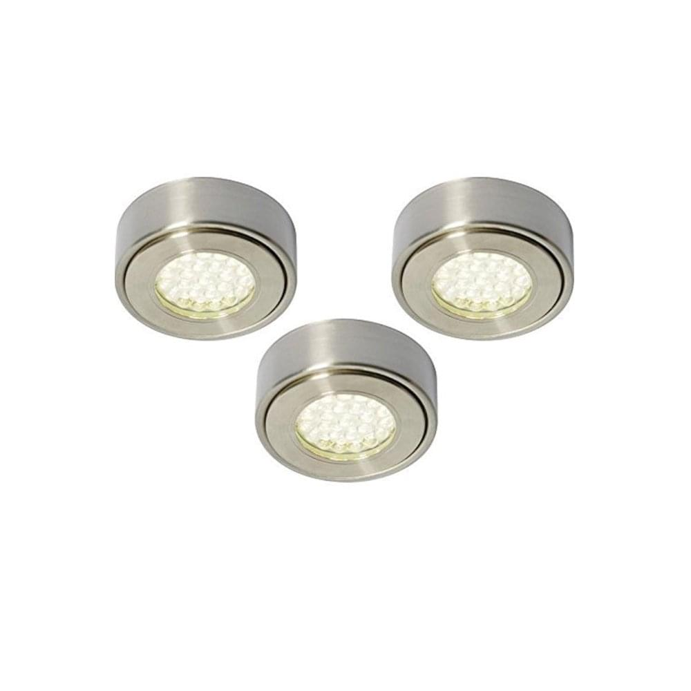 sports shoes 4f645 41d10 Modern Round LED Under Kitchen Cabinet Lights In Brushed Chrome Finish