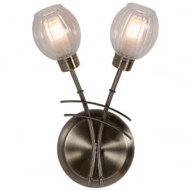 Modern Stylish 2 Light Wall Light In Antique Brass Finish And Glass Shade