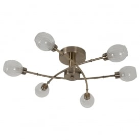 Modern Stylish 6 Light Semi Flush Ceiling Light In Antique Brass Finish