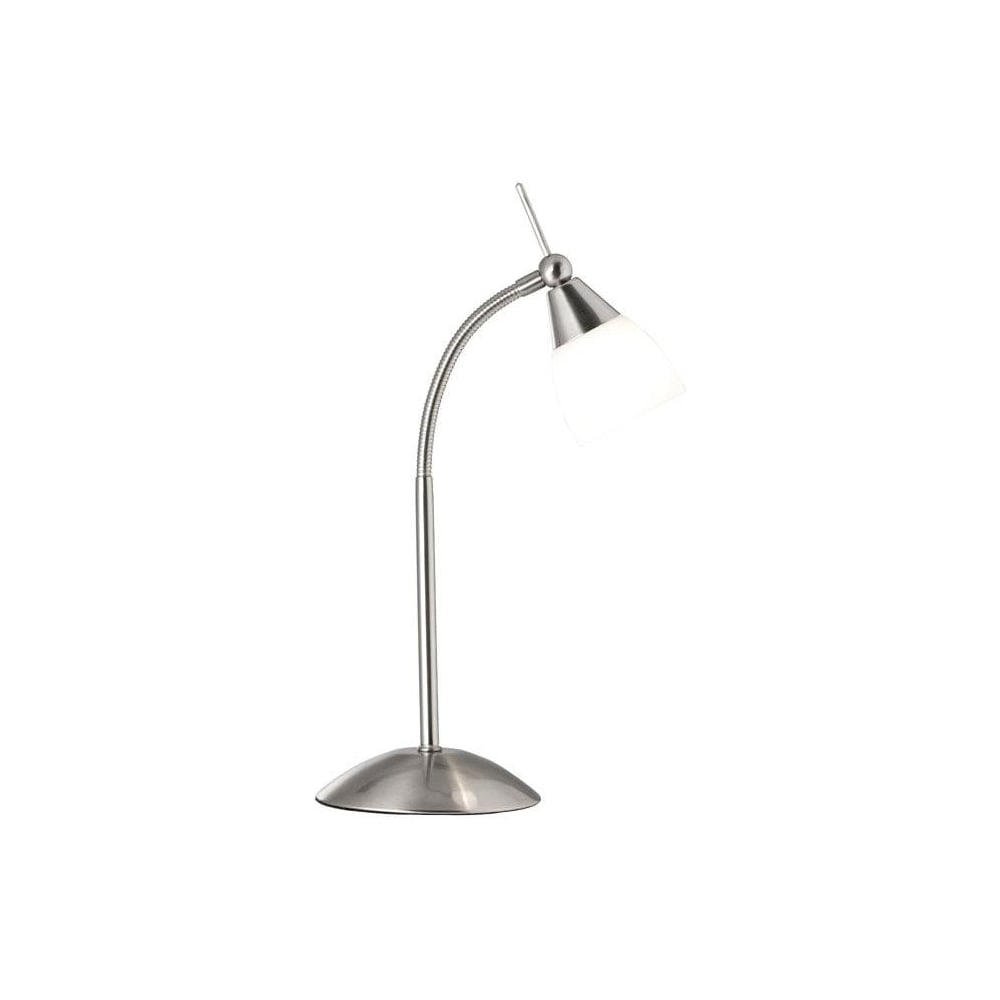 Searchlight Modern Touch Table Lamp With White Glass In Satin Silver
