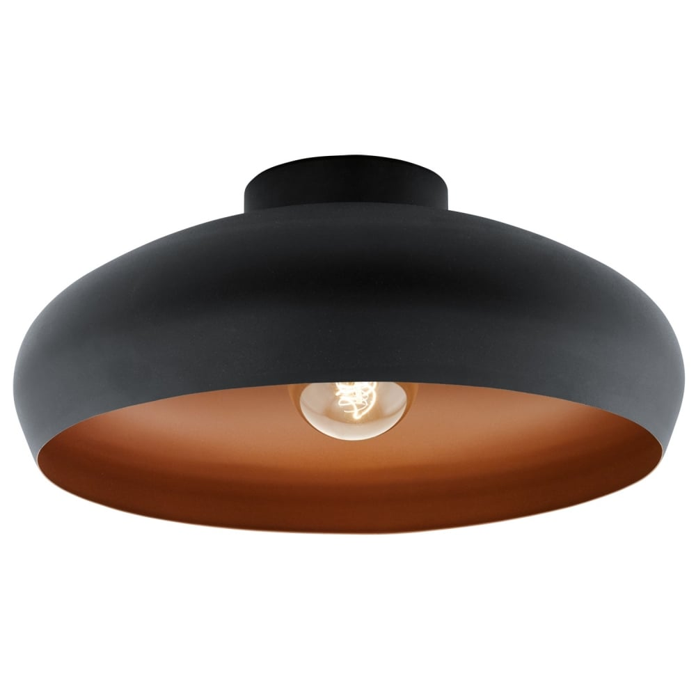 Eglo Lighting Mogano Vintage Flush Ceiling Light In Black And Copper Finish 94547 Lighting From The Home Lighting Centre Uk