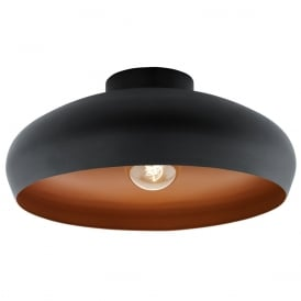 Mogano Vintage Flush Ceiling Light In Black And Copper Finish 94547