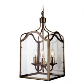 Monarch Stylish Large Ceiling Pendant Lantern In Antique Brass Finish 8638AB