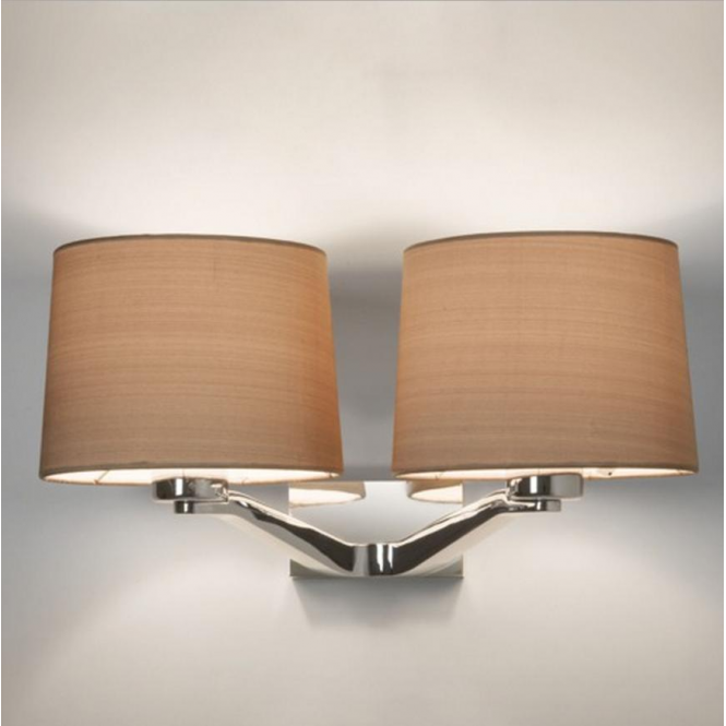 Astro Lighting Montclair Twin Polished Chrome Wall Light with Oyster Shade 7477 + 4064