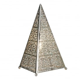 Moroccan Fretwork Table Lamp In Shiny Silver Finish 6541SS