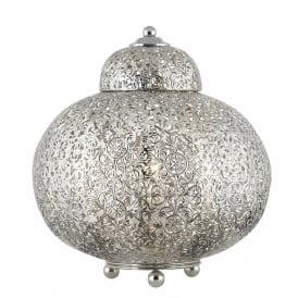 Moroccan Patterned Table Lamp In Shiny Nickel Finish 8221-1SS
