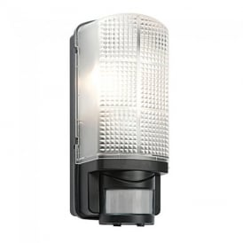 Motion PIR Exterior Black Wall Light with Frosted Polycarbonate Diffuser IP44 48739