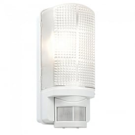 Motion PIR Exterior White Wall Light with Frosted Polycarbonate Diffuser IP44 48740