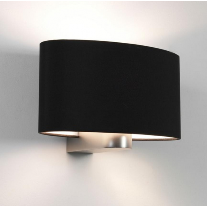 Astro Lighting Napoli Contemporary Matt Nickel Wall Light with Black Shade 0881 + 4055