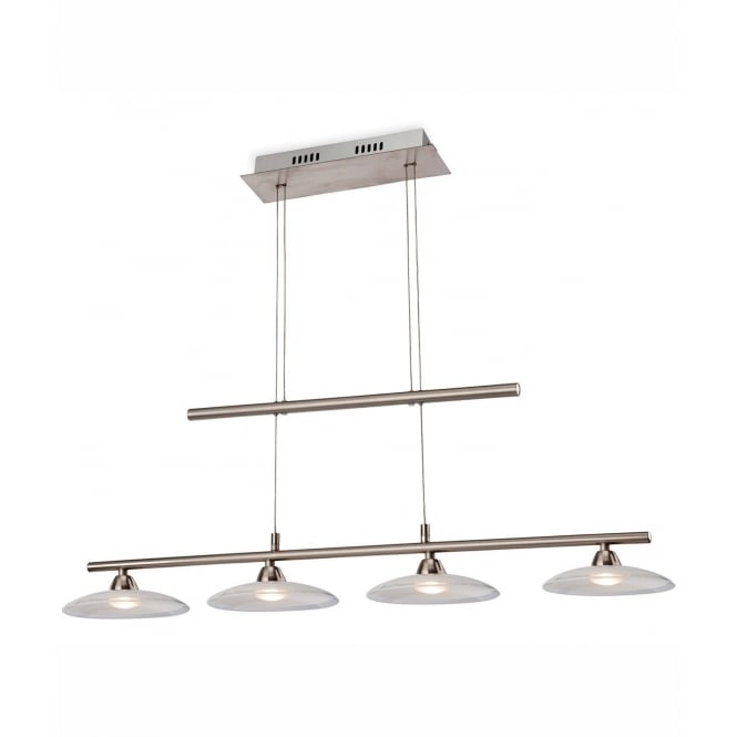 Firstlight Nassau Rise And Fall Ceiling Bar Pendant In Brushed Steel With Glass Shades 2304