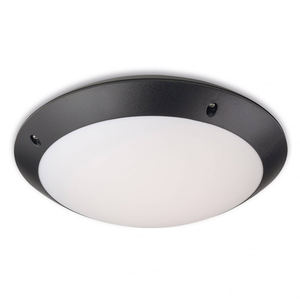 Nevada outdoor led motion sensor flush ceiling light in black finish ip66 2344