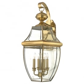 Newbury Outdoor Extra Large Wall Lantern In Polished Brass Finish QZ/NEWBURY2/XL
