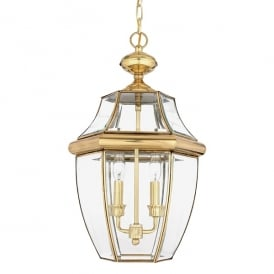 Newbury Outdoor Large Chain Ceiling Lantern In Polished Brass Finish QZ/NEWBURY8/L