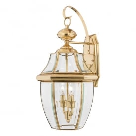 Newbury Outdoor Large Wall Lantern In Polished Brass Finish QZ/NEWBURY2/L