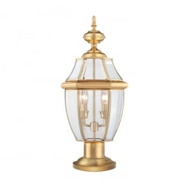 Newbury Outdoor Pedestal Lantern In Polished Brass Finish QZ/NEWBURY3/L