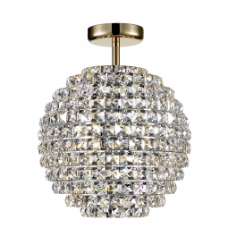 Nord Stylish Crystal Semi Flush Ceiling Light In Gold Finish CFH608241/SF/G