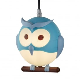 Novelty Owl Children's Ceiling Pendant Light In Blue Finish 0113BL