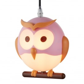 Novelty Owl Children's Ceiling Pendant Light In Pink Finish 0113PI