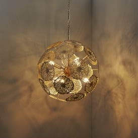 Nuphar Modern Six Light Ceiling Pendant In Matt Antique Brass Finish 73067