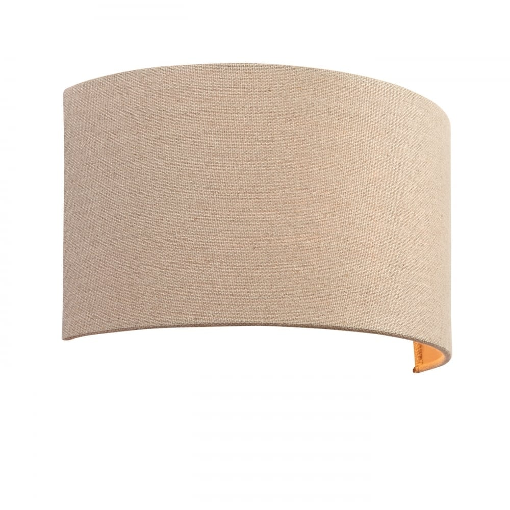 Obi Semi Circular Single Wall Light With Natural Linen Shade 70335