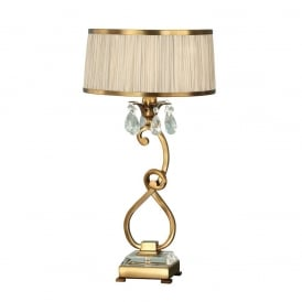 Oksana Medium Table Lamp in Antique Brass Finish With Beige Shade 63523