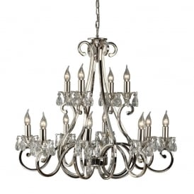 Oksana Stylish 12 Light Chandelier in Polished Nickel Finish With Crystal Droplets UL1P12N
